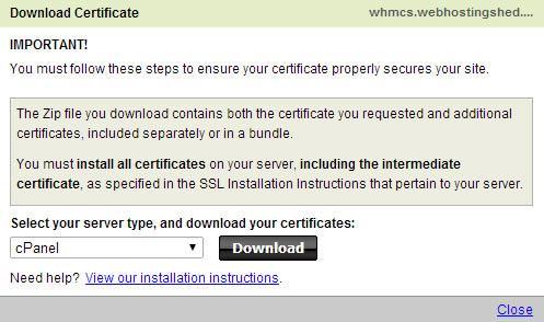 download godaddy cpanel ssl certificate