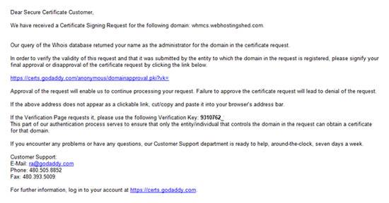 godaddy ssl approval request