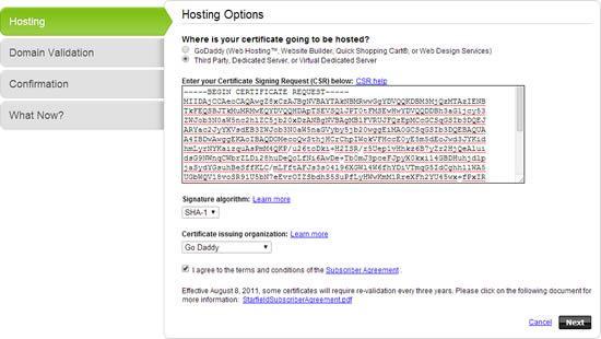 godaddy ssl hosting options