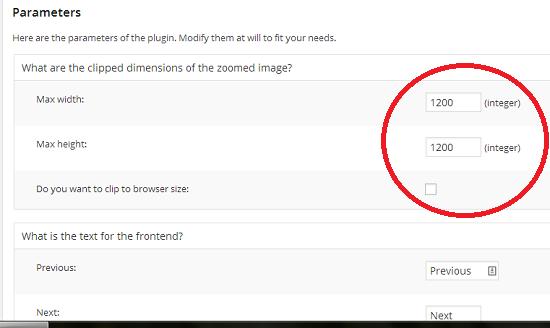 image zoom limits