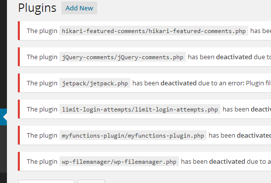 all plugins deactivated
