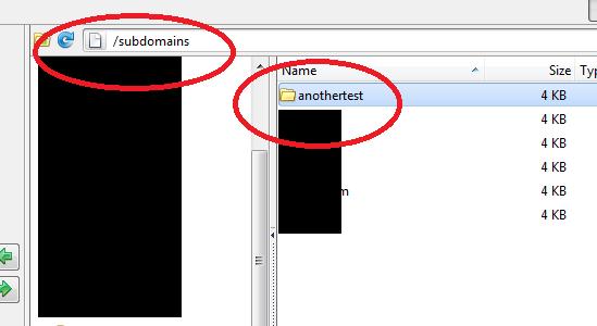 create subdomain folder