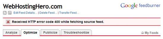 feedburner https error code 400