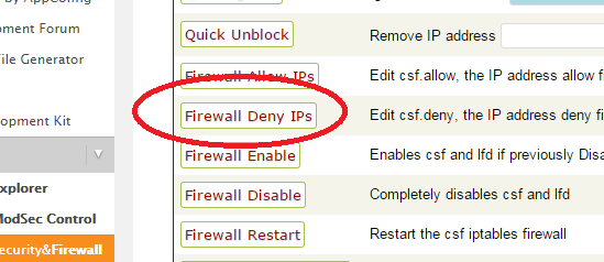 deny from firewall