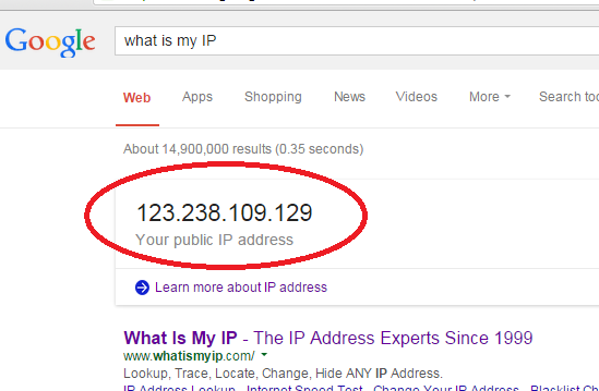 learn your IP address