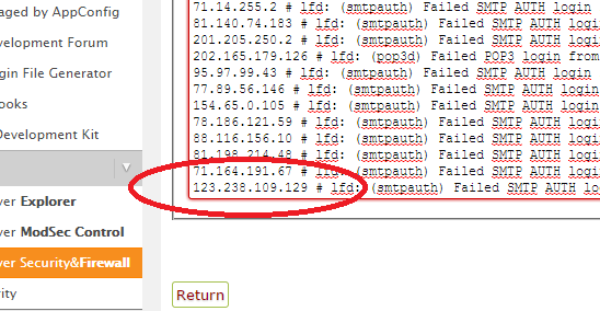 locate IP address in deny log