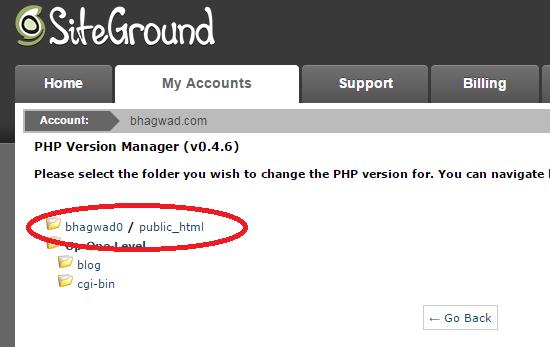 choose global folder for php version