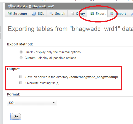 export database to location