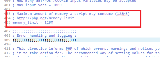 memory limit directly in phpini
