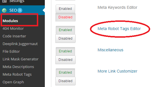 meta robots tag editor