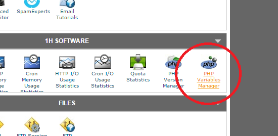 php variables manager cpanel