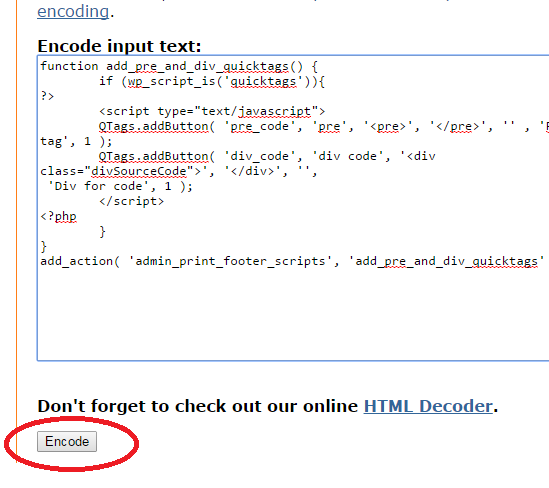 encode HTML