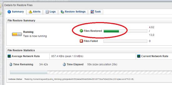 file restoration progress