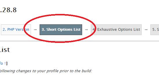 short options list