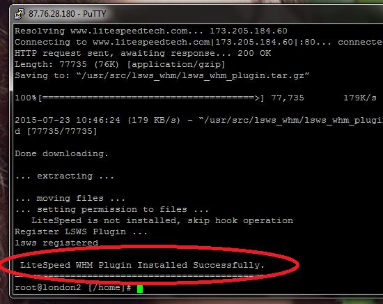 litespeed plugin install complete