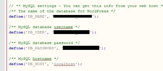 sensitive info in wp-config