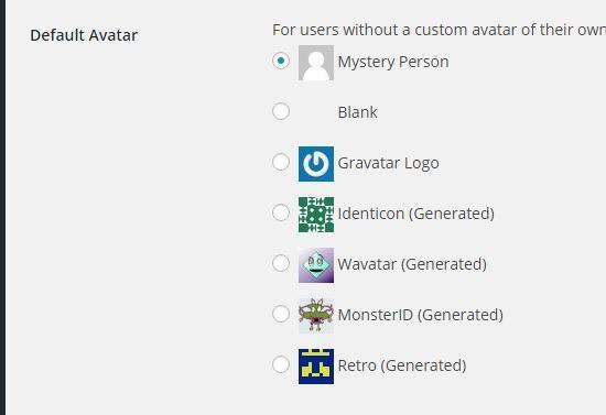 current gravatar options