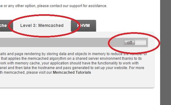 memcached off in cpanel