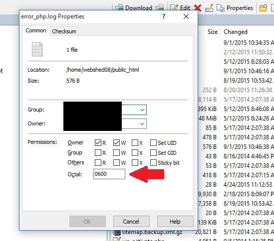 set log file permissions