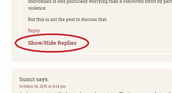 show hide links appear