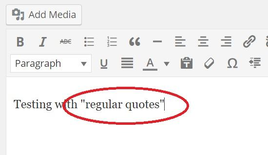 using regular quotes