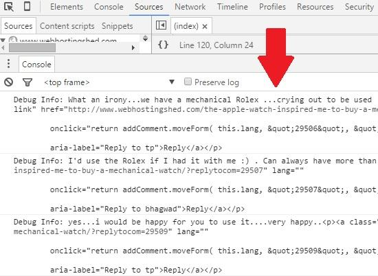output in chrome console