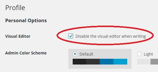 disable from profile