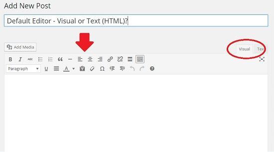visual editor default