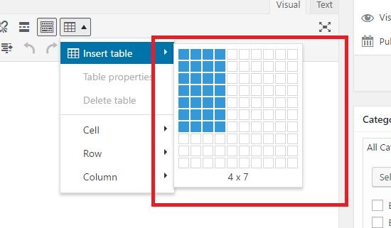 choose table size