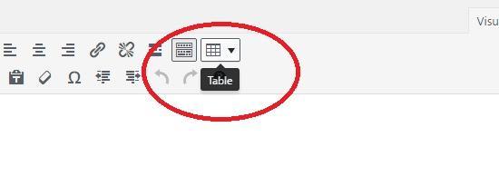 TinyMCE table button present