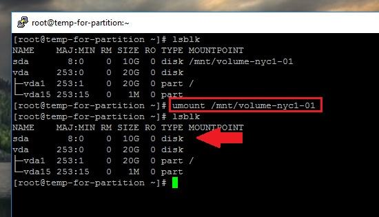 Unmount filesystems or Partitions in Linux