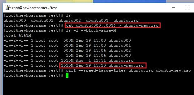 Split and Join Large Files in Linux