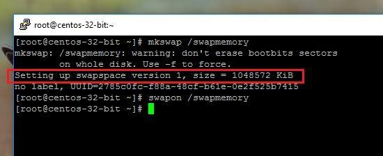 swap memory setup