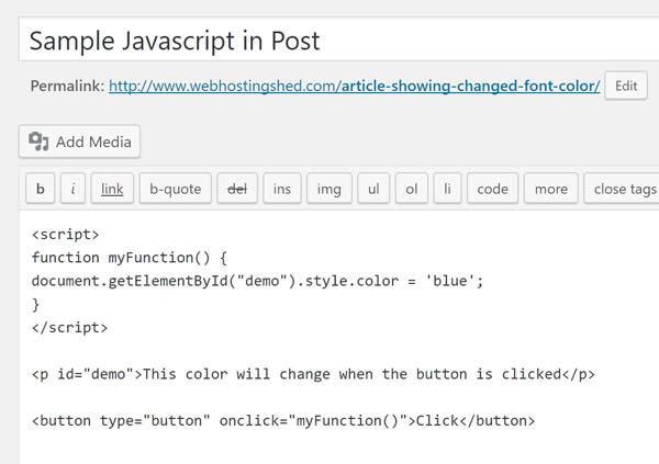 wordpress post javascript