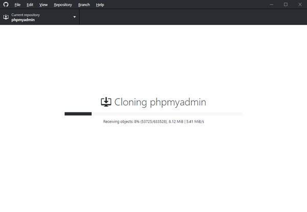 GitHub Desktop - Cloning phpMyAdmin