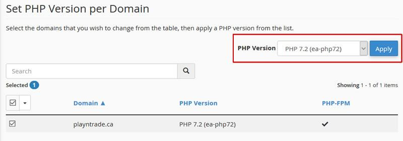 cPanel Enable PHP7.2