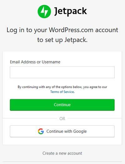 Jetpack Activation - WordPress Account