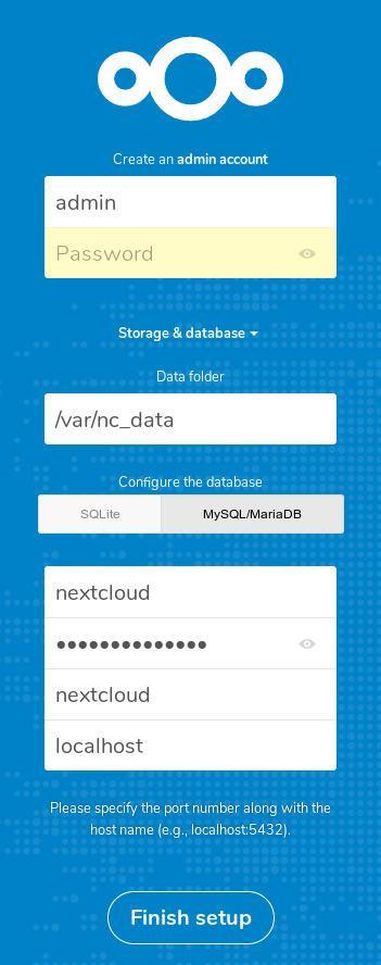 nextcloud storage and mysql setup