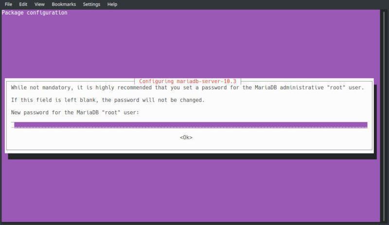 ubuntu mariadb server installation password