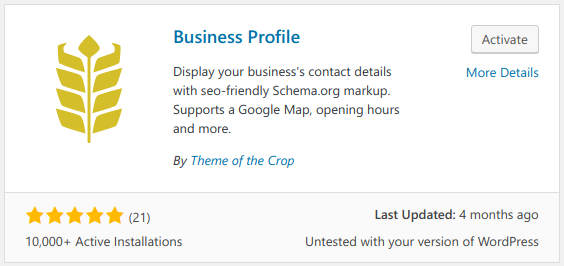 adding wordpress business profile plugin