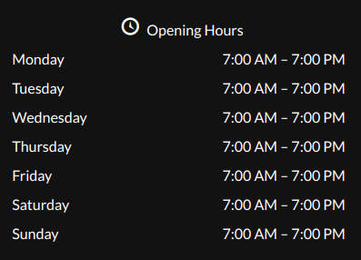 business hours website footer