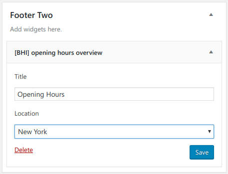 opening hours widget settings