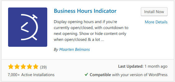 wordpress business hours indicator plugin